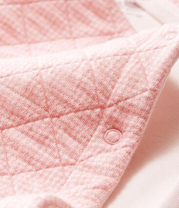 Mono largo para bebé de túbico acolchado rosa Charme / blanco Marshmallow