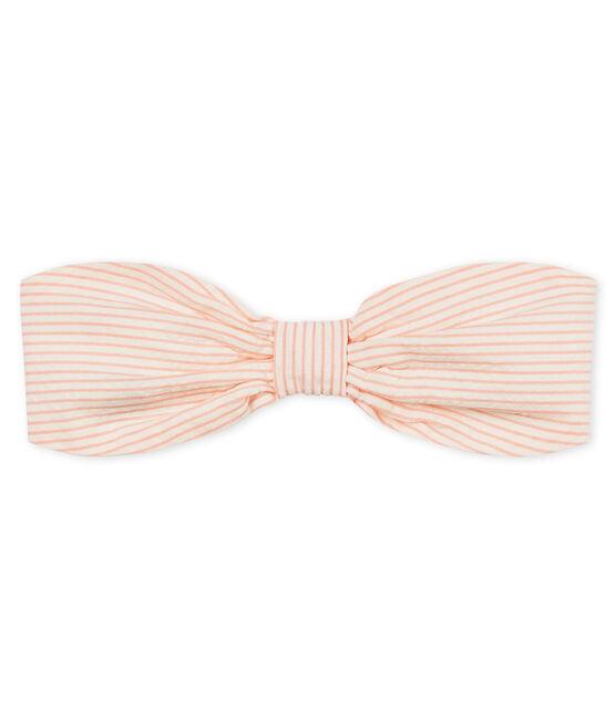 Turbante de rayas para bebé niña blanco Marshmallow / rosa Rosako