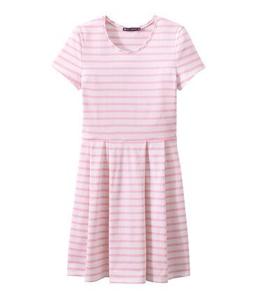 Vestido de manga corta blanco Marshmallow / rosa Babylone