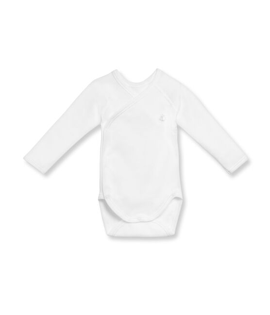 Unisex newborn baby long-sleeved brushed cotton bodysuit blanco Ecume