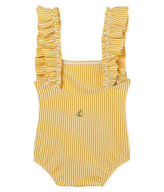 Traje de baño 1 pieza de rayas para bebé niña amarillo Bamboo / blanco Marshmallow