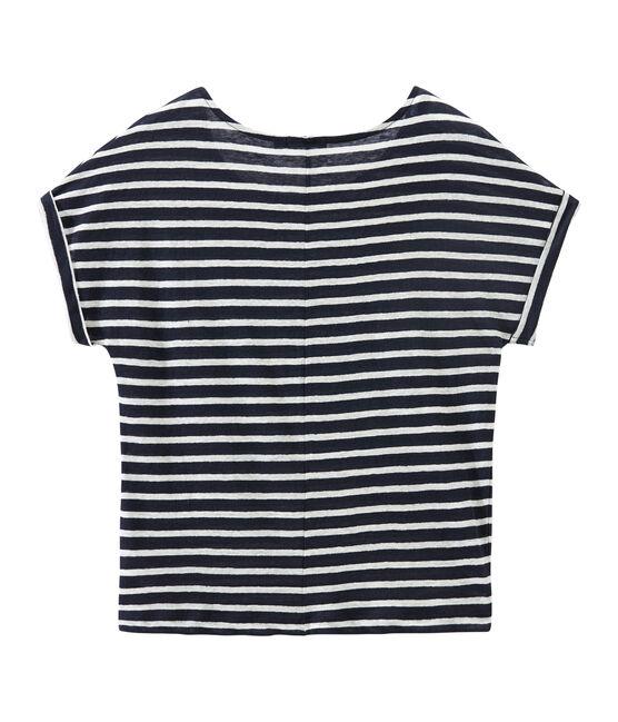 Camiseta de lino rayas para mujer azul Smoking / blanco Lait