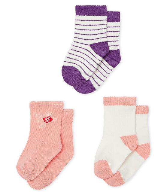 Lote de 3 pares de calcetines bebé niña lote .