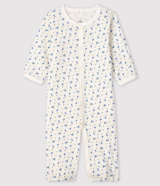 Mono saco de tejido acanalado con estampado de flores para bebé niña blanco Marshmallow / blanco Multico