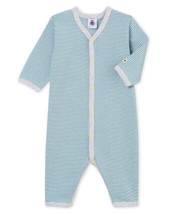 Pelele sin pies de punto para bebé niño azul Fontaine / blanco Marshmallow