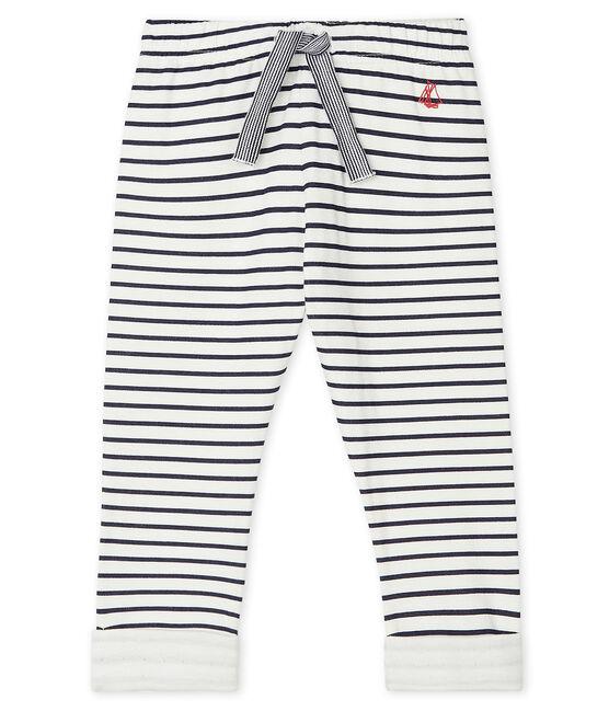 Pantalón de tejido túbico estampado para bebé blanco Marshmallow / azul Smoking