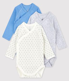 Lote de 3 bodys cruzados de manga larga de bebé de algodón ecológico lote .