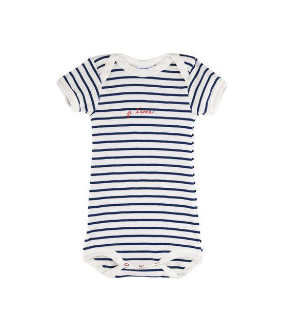 Bodi manga corta para bebé niña - bebé niño blanco Marshmallow / azul Medieval