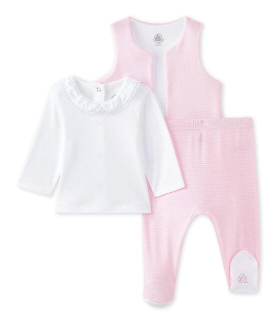 Conjunto bebé niña 3 piezas blanco Ecume / rosa Vienne