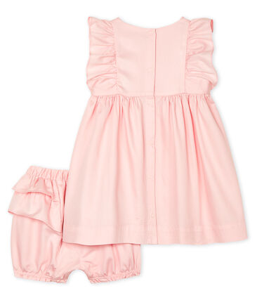 Vestido y braguita «bloomer» de satén para bebé niña rosa Minois