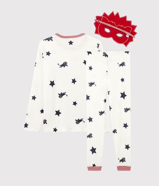 Pijama infantil con dibujo de león de punto blanco Marshmallow / azul Medieval