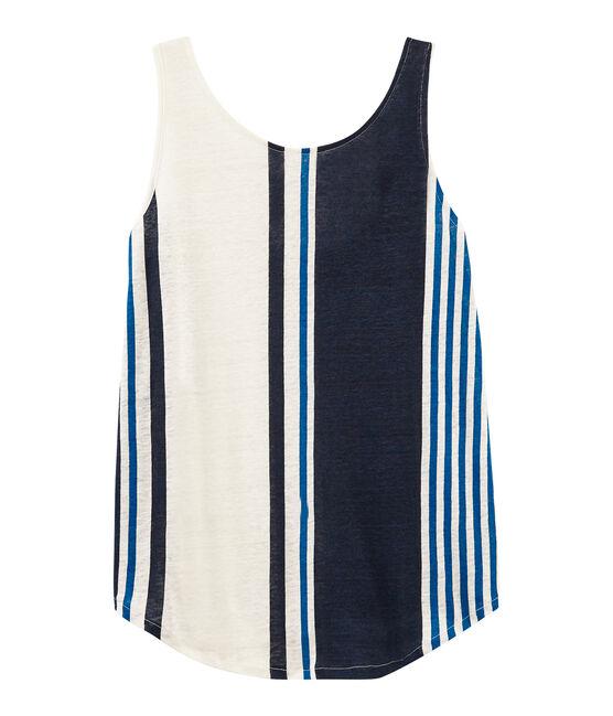 Camiseta de tirantes de lino para mujer blanco Marshmallow / blanco Multico