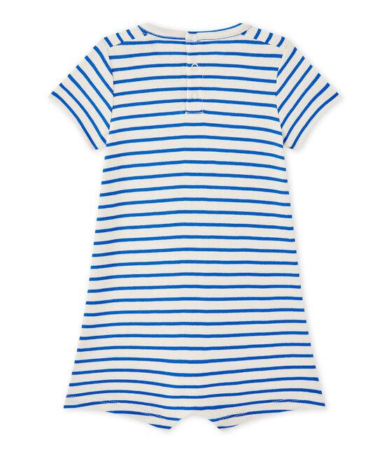 Pelele corto marinero de bebé niño blanco Feta / azul Perse