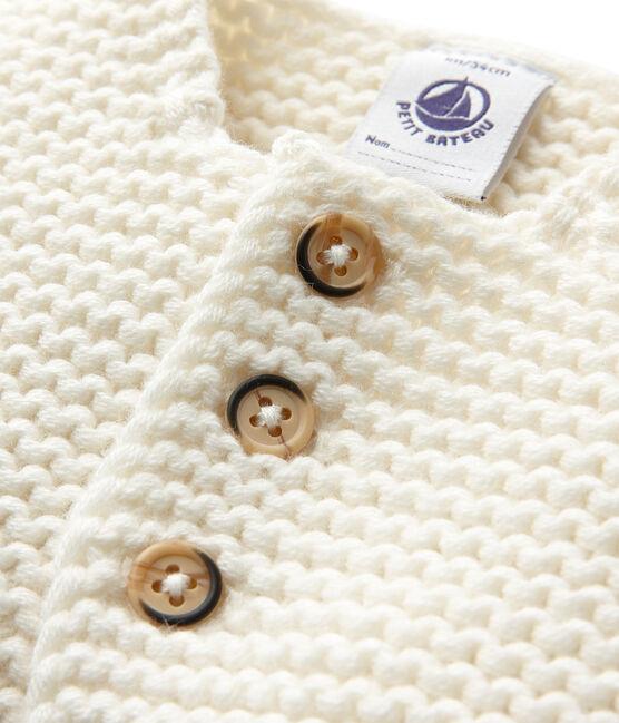 Cardigan de lana y algodón unisex blanco Lait