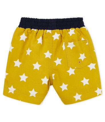 Shorts de playa estampados para bebé niño amarillo Bamboo / blanco Marshmallow
