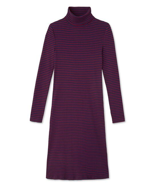 Robe femme rayée à col roulé en coton ultra light rojo Clafouti / azul Medieval