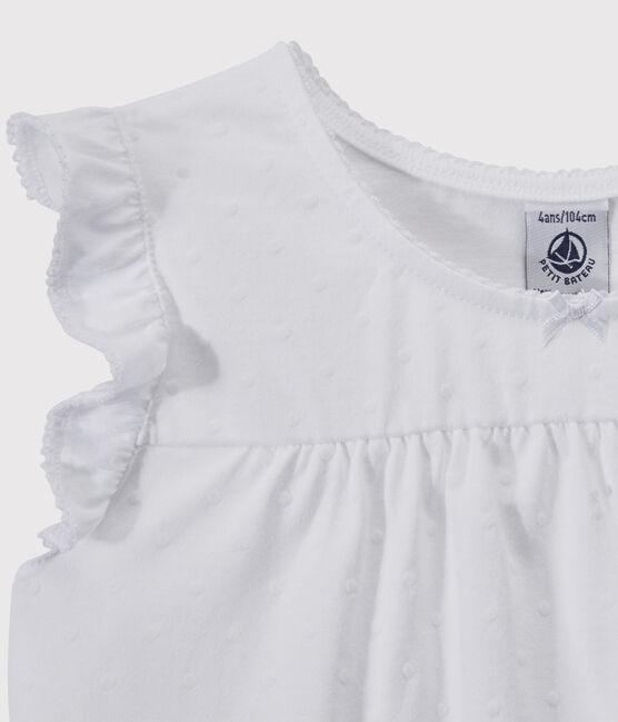 Pijama corto blanco de algodón fino de chica/mujer blanco Ecume