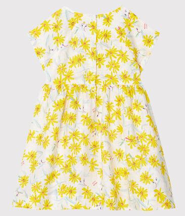 Vestido de manga corta de lino para bebé niña blanco Marshmallow / blanco Multico