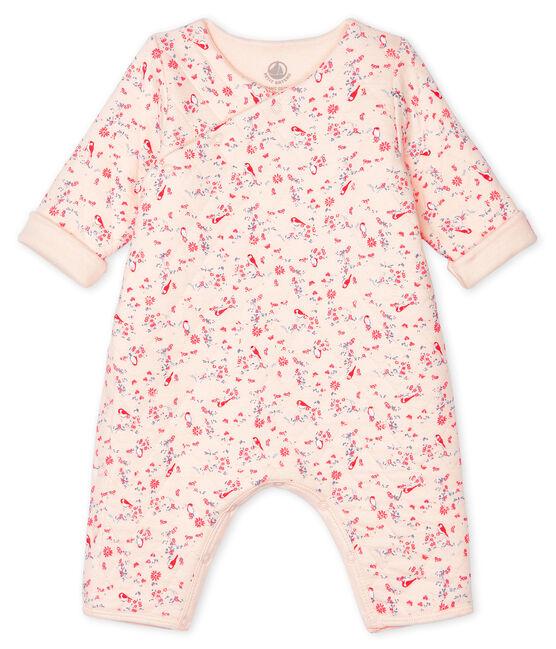 Mono largo de bebé unisex rosa Fleur / blanco Multico