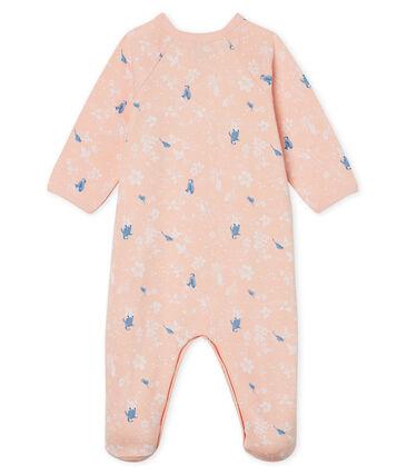 Pijama de muletón para bebé niña rosa Minois / blanco Multico
