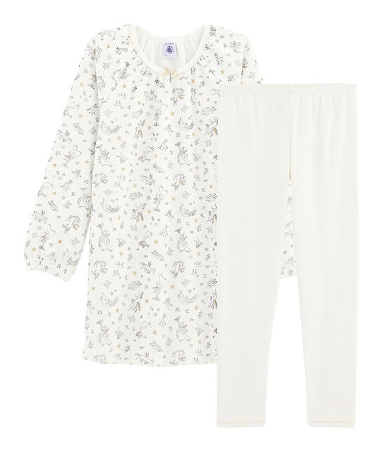 Camisón de terciopelo con «leggings» para niña pequeña blanco Marshmallow / blanco Multico