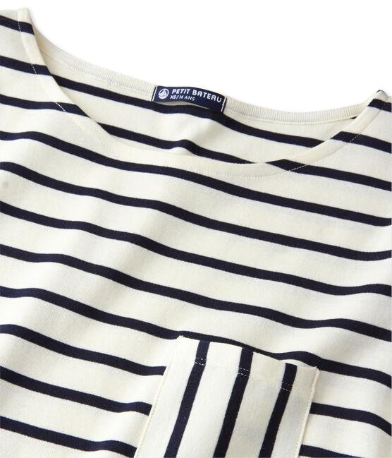 T-shirt femme manches longues en côte originale beige Coquille / azul Smoking