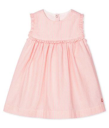 Vestido sin mangas a rayas para bebé niña blanco Marshmallow / rosa Rosako