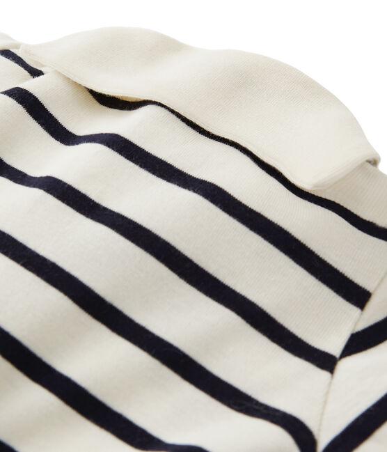 Pijama de bebé rayado con cuello blusa beige Coquille / azul Abysse