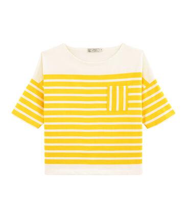 Camiseta marinera para mujer amarillo Shine / blanco Marshmallow