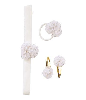 Lote de accesorios para el cabello blanco Marshmallow / amarillo Dore