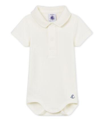 Body manga corta cuello polo liso para bebé niño