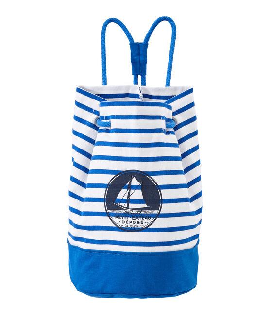 Bolsa marinera en jersey tupido para niño blanco Marshmallow / azul Perse