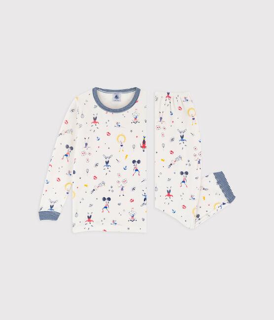 Pijama con estampado de fiesta para niño pequeño de terciopelo blanco Marshmallow / blanco Multico