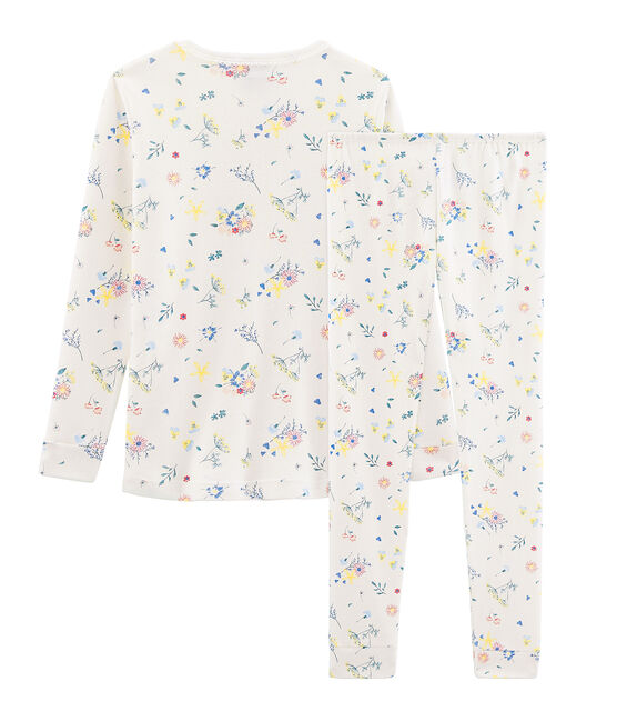 Pijama de corte muy ajustado para niña blanco Marshmallow / blanco Multico
