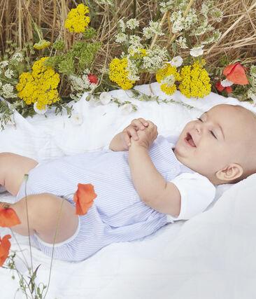 Pelele corto para bebé niño de popelina a rayas blanco Marshmallow / blanco Multico