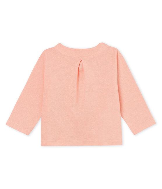 Cárdigan de algodón/lino para bebé niña rosa Rosako