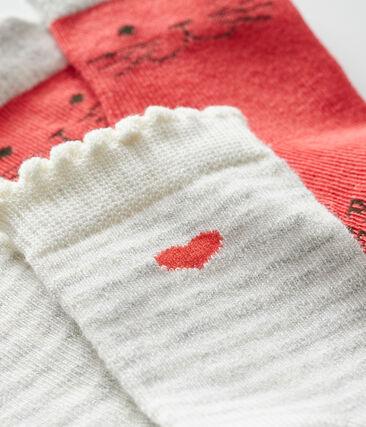 Lote de 2 pares de calcetines bebé niña rojo Signal