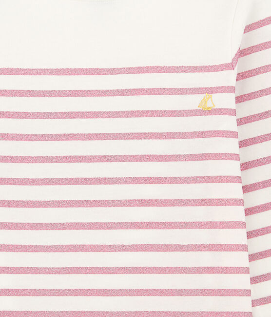 Camiseta de niña blanco Marshmallow / rosa Babylone