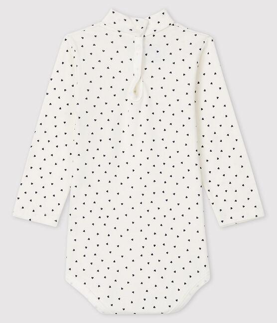 Bodi de manga larga para bebé niña blanco Marshmallow / azul Smoking