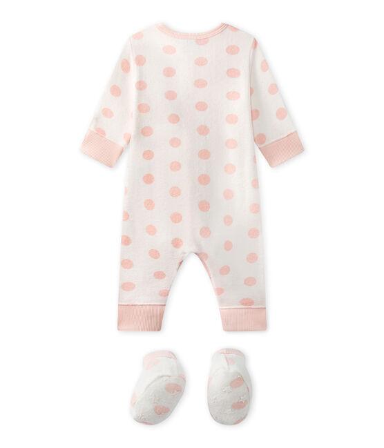 Pijama sin pies para bebé niña blanco Lait / rosa Rose