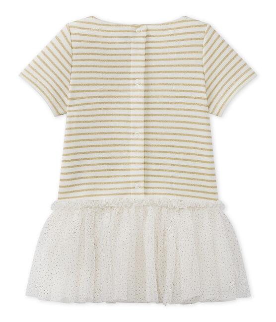 Vestido de bebé niña de manga corta blanco Marshmallow / marrón Em Dore