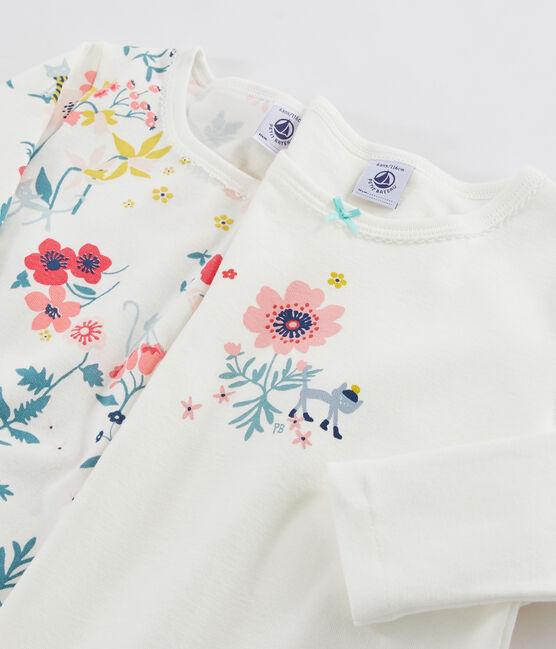 Juego de 2 camisetas de manga larga con estampado de flores de niña pequeña lote .