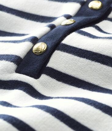 Vestido icónico para bebé niña blanco Marshmallow / azul Smoking