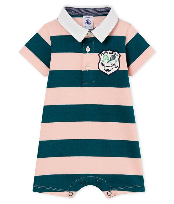 Mono corto polo de rayas para bebé niño verde Pinede / rosa Rosako