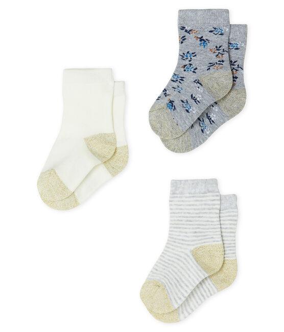 Lote de 3 pares de calcetines para bebé niña gris Beluga