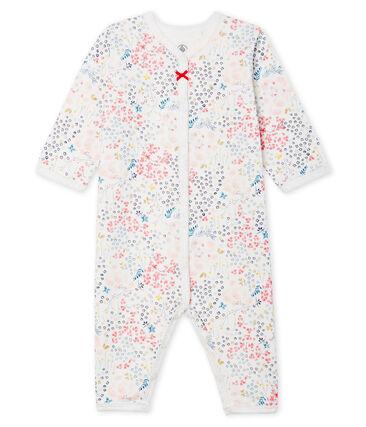 Pijama sin pies de ecológico con forro para bebé blanco Marshmallow / rosa Minois
