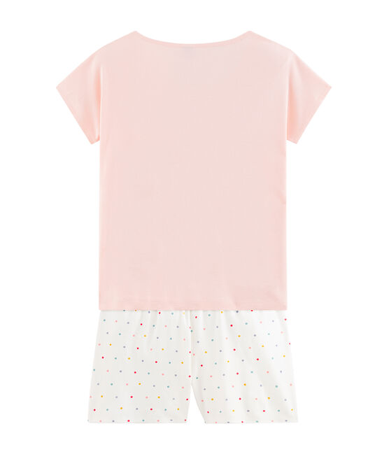 Pijama corto de punto para chica rosa Minois / blanco Multico