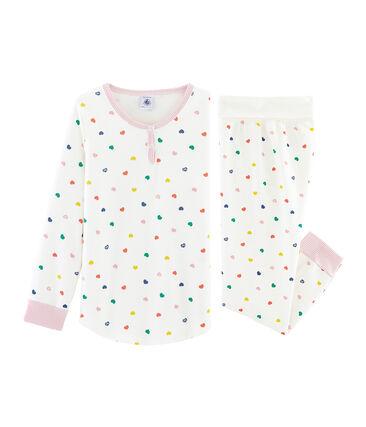 Pijama de felpa para niña blanco Marshmallow / blanco Multico