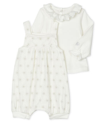 Conjunto 2 piezas para bebé niña blanco Marshmallow / beige Perlin