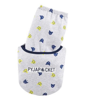 Pijama de punto para niño gris Poussiere / blanco Multico